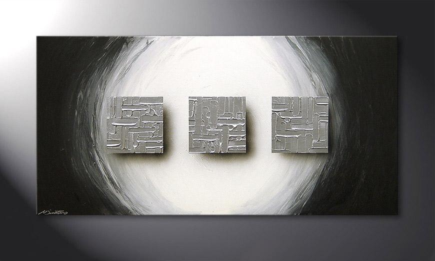 Cubes of Silver 120x60x2cm  Obraz