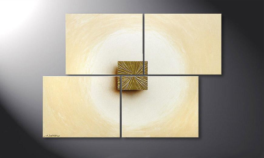 Golden Cube 115x80x2cm Obraz