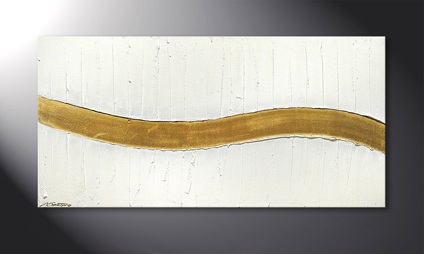 Golden Wave 120x60x2cm Obraz