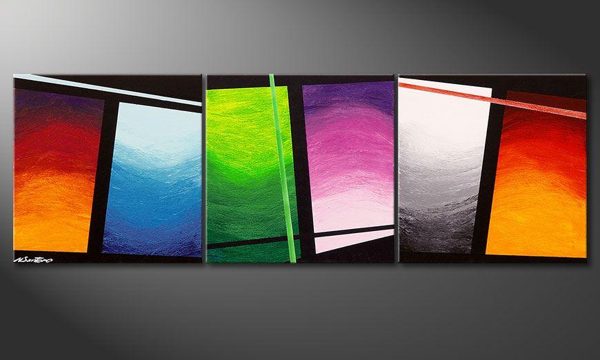 Nowoczesne obraz Wave of Colors 150x50x2cm