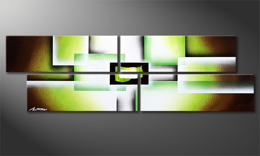 Obrazy do salonu Green Spirit 130x40x2cm