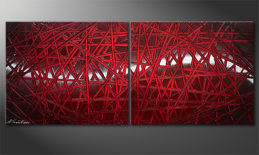 Red Push 120x50x2cm Obraz