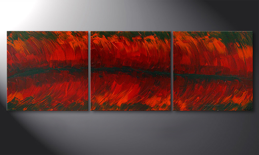 Riven Red 180x60x2cm Obraz