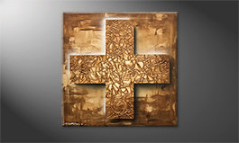 Obraz do salonu 'Golden Cross' 80x80cm
