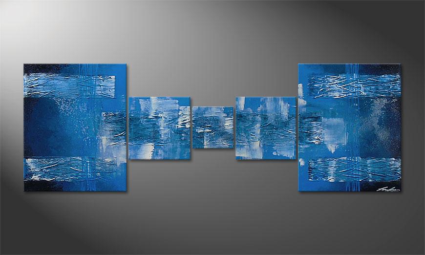 Blue Waves 180x60x2cm Obraz
