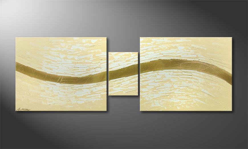Golden Stream 140x50x2cm Obraz