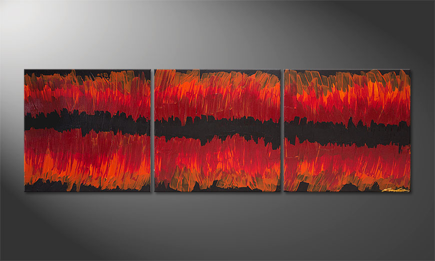Split Red 180x60x2cm Obraz