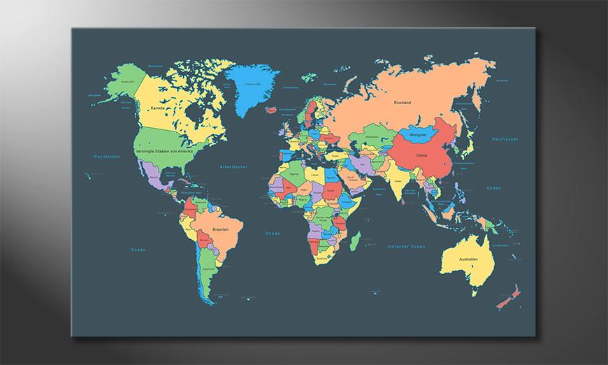 Colorful Map Obraz