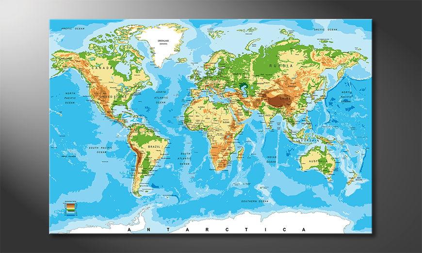 Physical Worldmap Obraz