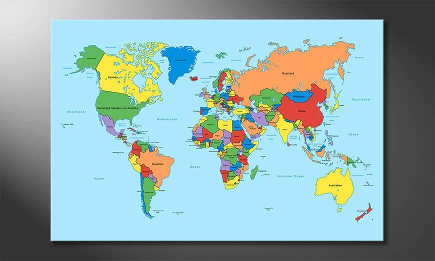 Worldmap Classic Obraz
