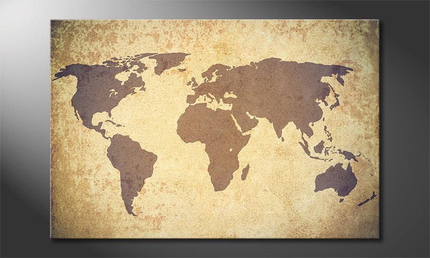 Worldmap Vintage Obraz