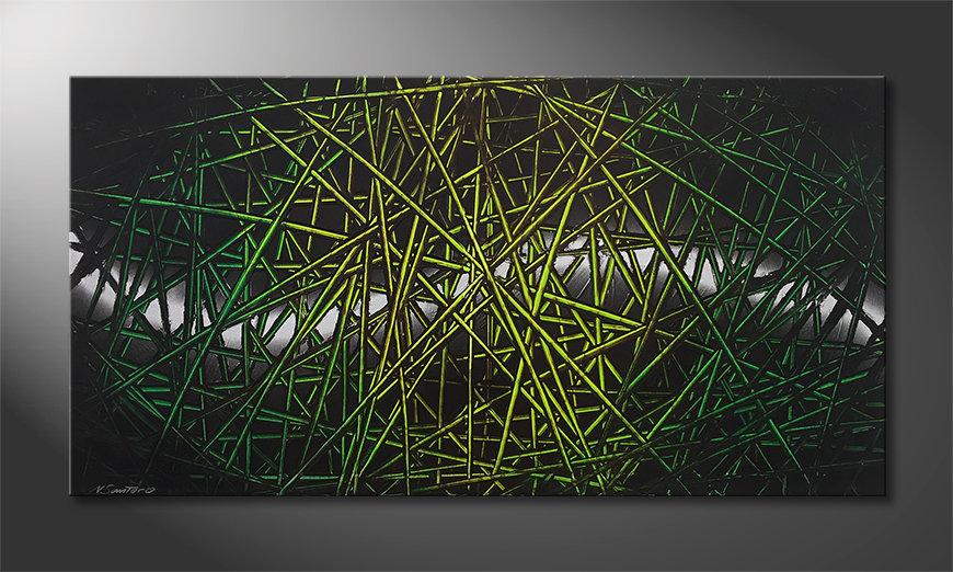 Ładne malowanie Green Rumble 140x70x2cm