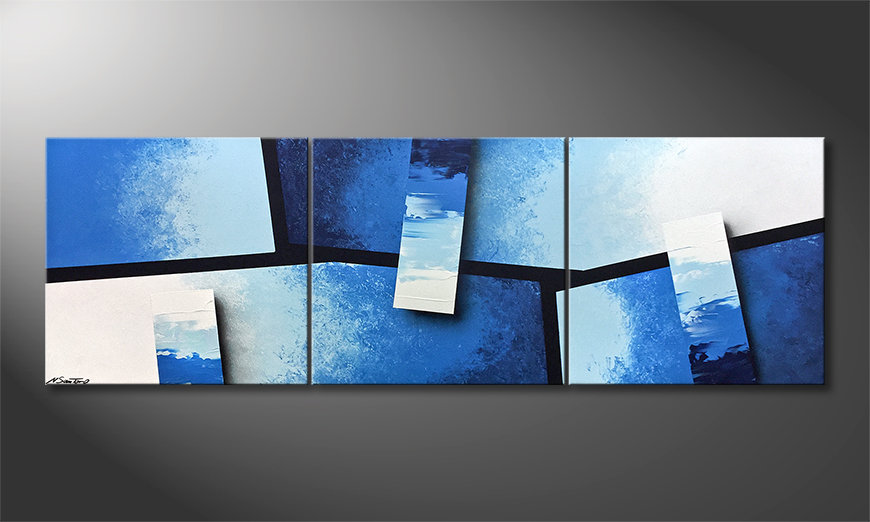 Malarstwo na płótnie Blue Stacks 210x70x2cm