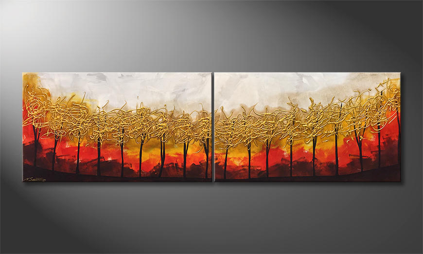 Malarstwo na p?ótnie Golden Trees 200x60x2cm