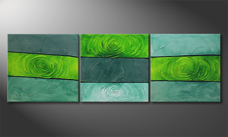 Nowoczesne obraz Green Roses 225x75x2cm