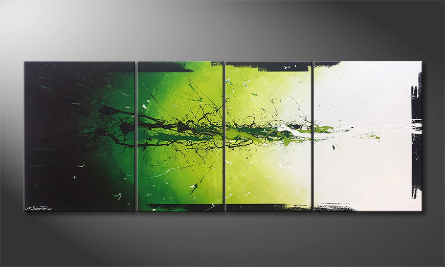 Nowoczesne obraz Liquid Green 180x70x2cm